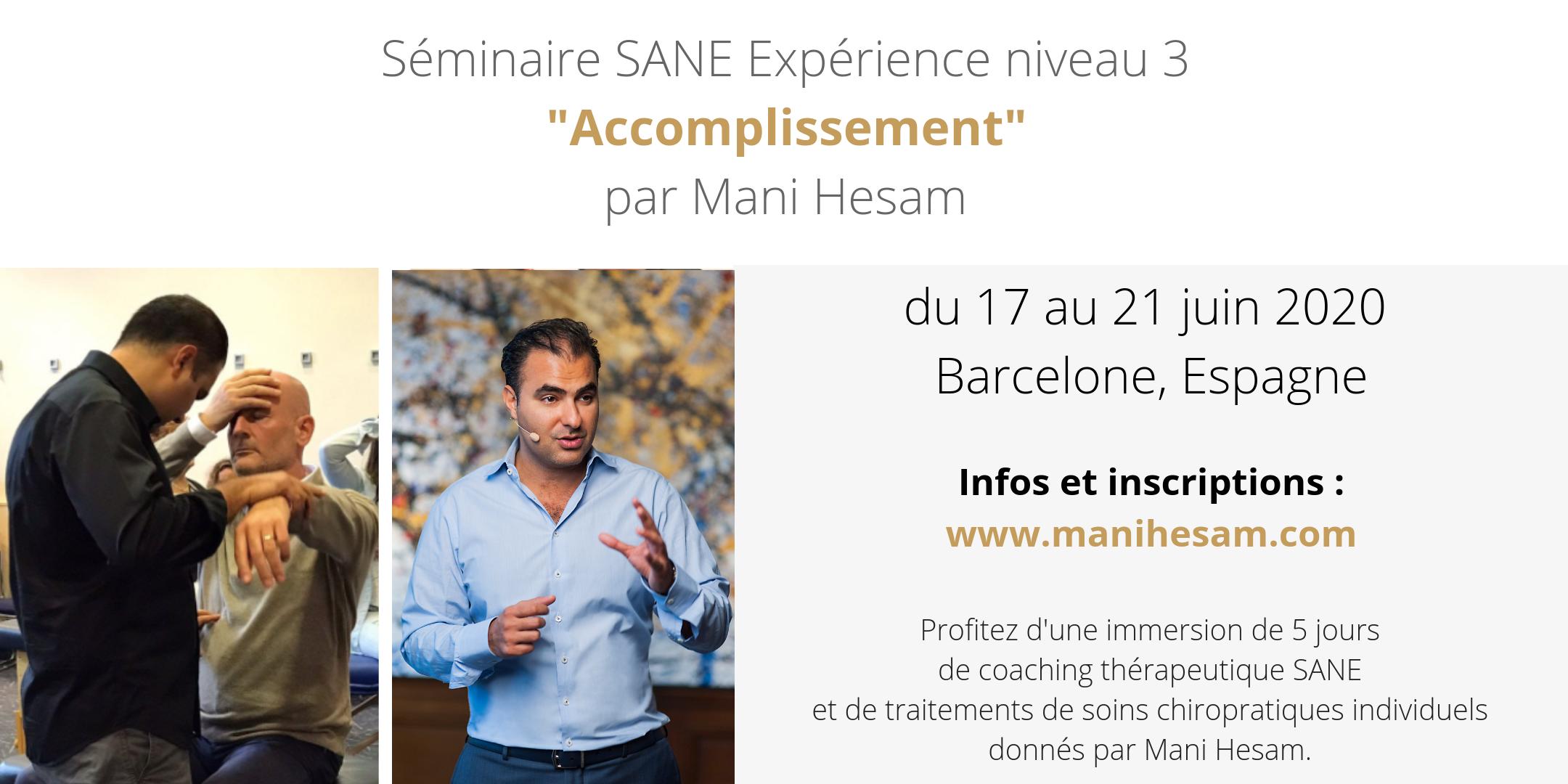 17 au 21 juin 2020, Barcelone - Séminaire SANE niveau 3 animé par M. Hesam - COMPLET