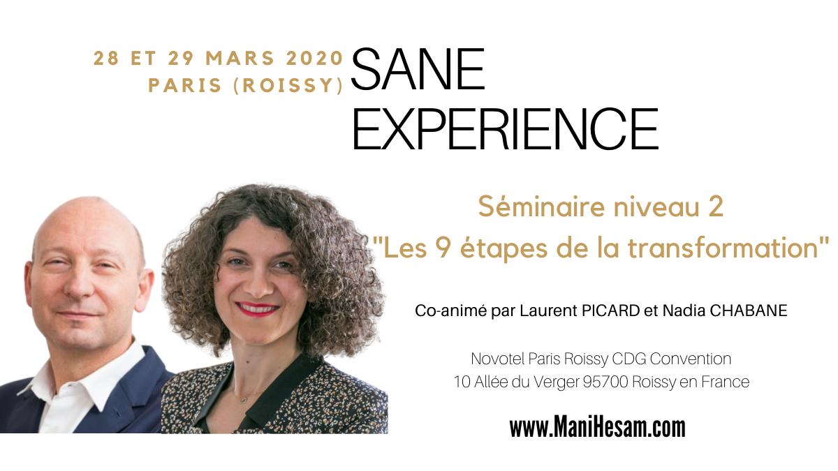 28-29 mars 2020, Paris - Séminaire SANE Expérience niveau 2 animé par N. Chabane et L. Picard